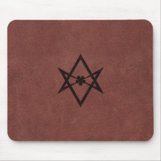 Unicursal Hexagram Thelemic Symbol on Red Leather Mouse Mat