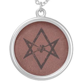 Unicursal Hexagram Thelemic Symbol on Red Leather Necklaces