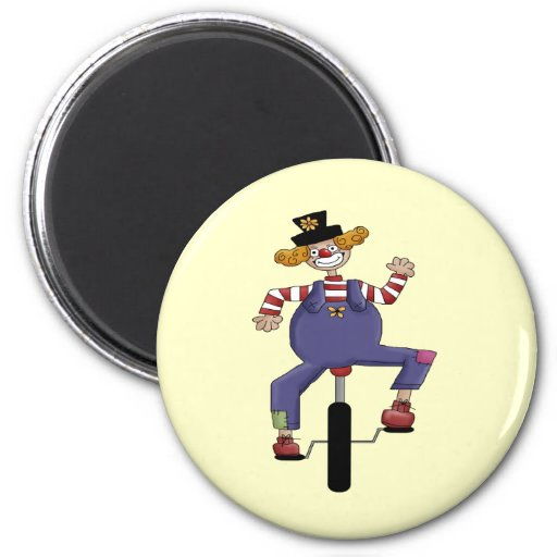 Unicycle Circus Clown Fridge Magnets