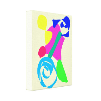 Unicycle Ivory White Stretched Canvas Print