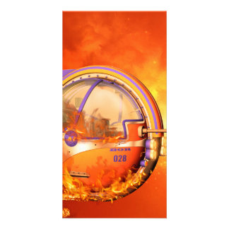 Unicycle with flame photo greeting card
