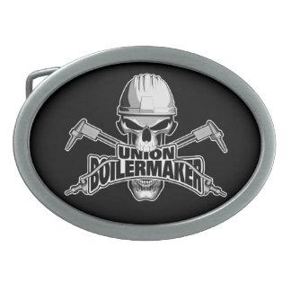 Union Boilermaker: Welding Skull Oval Belt Buckles