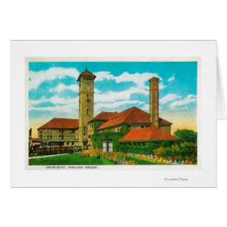 Union Depot Railroad Station in Portland, Card