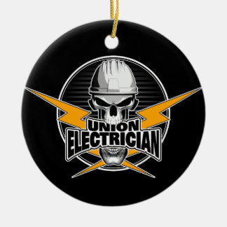 Union Electrician: Skull and Thunderbolts Christmas Ornament