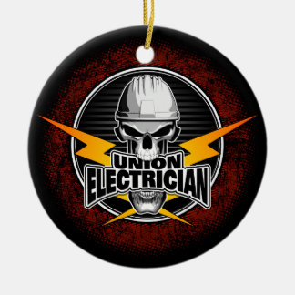 Union Electrician Skull Christmas Ornament