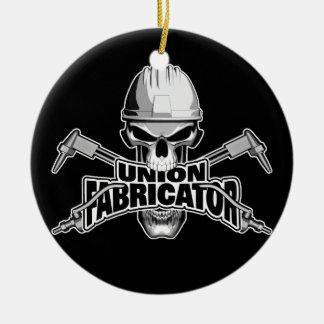 Union Fabricator: Welder Skull Round Ceramic Decoration