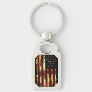Union Flag American Civil War Silver-Colored Rectangular Metal Keychain