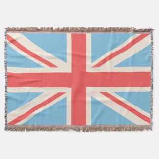 Union Flag/Jack Design Cream, Light Blue & Red Throw Blanket