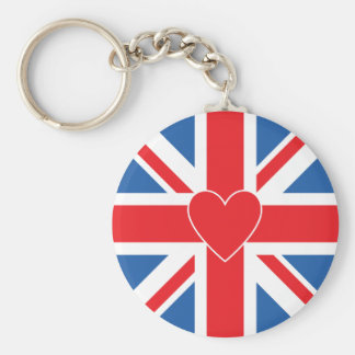 Union Flag/Jack Design & Heart Key Ring