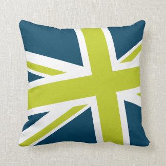 Union Flag Pillow — Square (Blue/Lime)