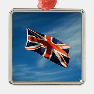 Union Flag Silver-Colored Square Decoration
