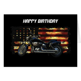 Union Flag, Stars and Stripes, Motorcycle Greeting Card