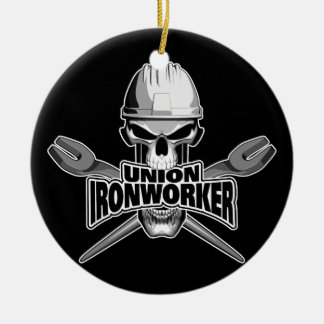 Union Ironworker: Skull and Spuds Christmas Ornament