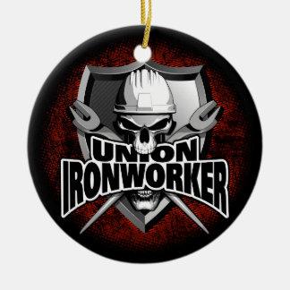 Union Ironworker Skull Round Ceramic Decoration