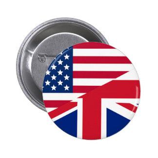 Union Jack American Flag Pattern Stars Stripes 6 Cm Round Badge