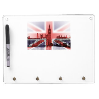 Union Jack and Big Ben Dry wipeboard Dry Erase Board With Key Ring Holder