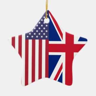 Union Jack And United States of America Flags Christmas Ornament