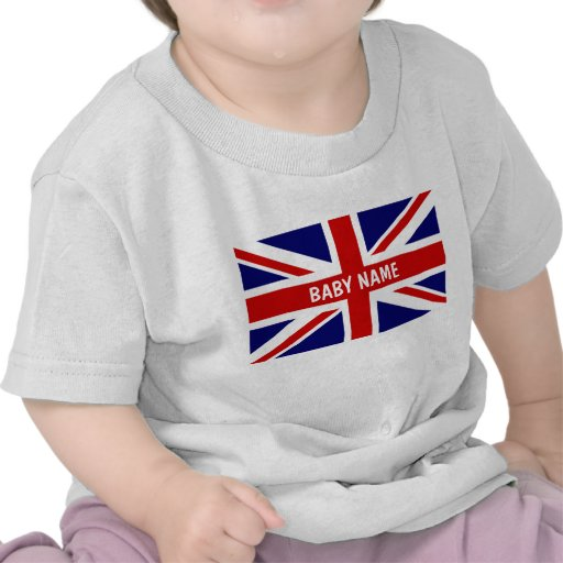Union Jack baby tops | Personalizable british flag Tshirt