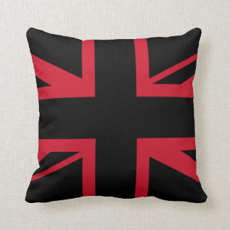 Union Jack ~ Black and Red Cushion