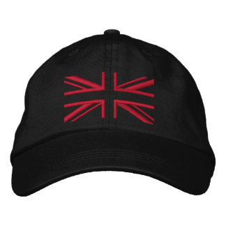 Union Jack ~ Black and Red Embroidered Hat