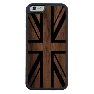 Union Jack | Black on Wooden Carved Walnut iPhone 6 Bumper Case