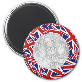 Union Jack Border Template 6 Cm Round Magnet