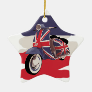 Union Jack Brit scooter Ceramic Star Decoration