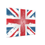 Union Jack British Flag Abstract Wax Art Stretched Canvas Print
