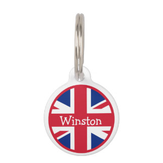 Union Jack British Flag UK ID Name Pet Nametag