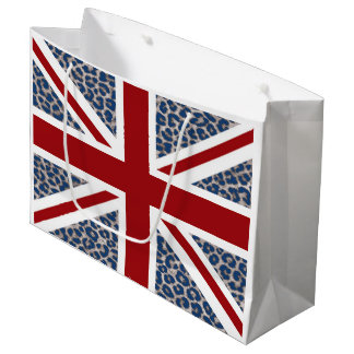 Union Jack British Flag with Blue Cheetah Print Large Gift Bag