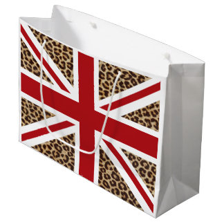 Union Jack British Flag with Cheetah Print Large Gift Bag