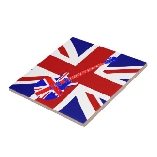 Union Jack British Guitar Art 2 Small Square Tile