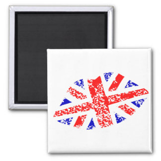 Union Jack British Kiss This! Square Magnet