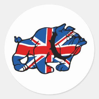 Union Jack Bulldog Round Sticker