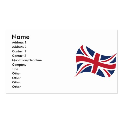 Union jack double sided standard business cards pack of for Union made business cards