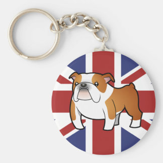 Union Jack Cartoon English Bulldog Key Ring