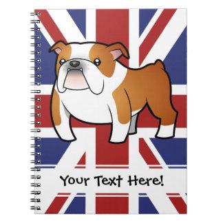 Union Jack Cartoon English Bulldog Notebooks