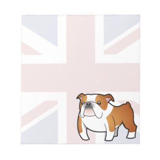 Union Jack Cartoon English Bulldog Notepad