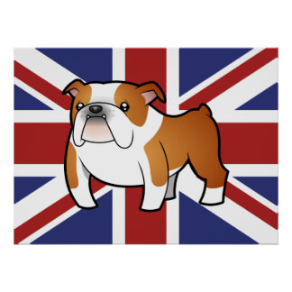 Union Jack Cartoon English Bulldog Poster