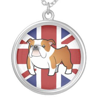 Union Jack Cartoon English Bulldog Silver Plated Necklace