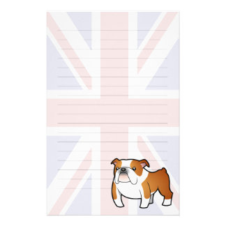 Union Jack Cartoon English Bulldog Stationery Paper