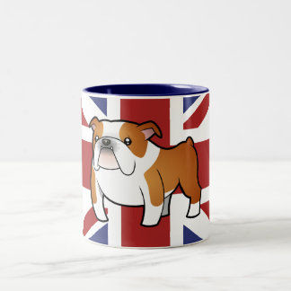 Union Jack Cartoon English Bulldog Two-Tone Coffee Mug