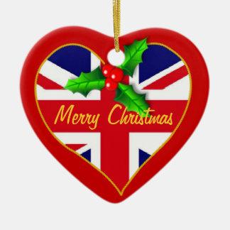 Union Jack Christmas heart Christmas Ornament
