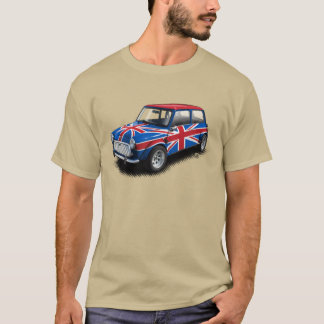 Union Jack Classic Mini Car on Tan T-Shirt