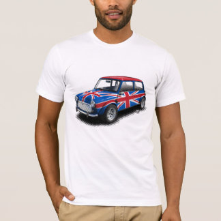 Union Jack Classic Mini Car on White T-Shirt