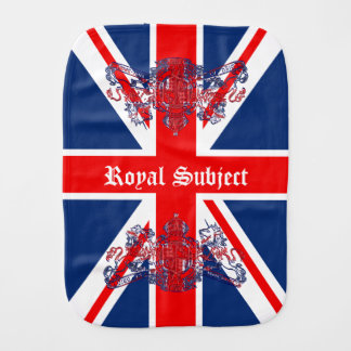 Union Jack & Coat of Arms British Royal Subject Baby Burp Cloth