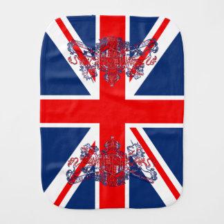 Union Jack & Coat of Arms British Royal Subject Baby Burp Cloths