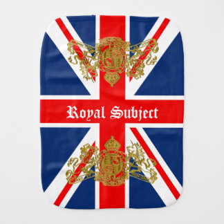 Union Jack & Coat of Arms British Royal Subject Burp Cloths