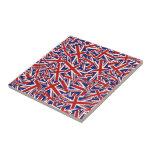 Union Jack Collage Small Square Tile