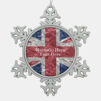 Union Jack - Crinkled Pewter Snowflake Decoration